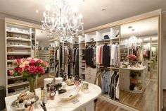 """Inside A Mega-Famous Beauty Blogger's Massive Makeup Closet #refinery29  http://www.refinery29.com/huda-kattan-makeup-products-advice#slide-9  Chandelier""""I got my closet done by Creative Closets [Ed. note: a bespoke closet service], but I definitely think you can do things on a budget, too. My first closet was done by Ikea, and I spent $3,000 to do the whole thing — a big investment for me at the time. I got this chandelier from Dragon Mart f..."""