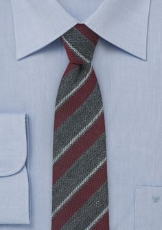 Trendy Wool Striped Skinny Tie in Gray and Burgundy, $39.90 | Cheap-Neckties.com