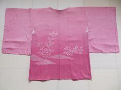 Japanese Vintage Kimono, HAORI, SILK, Pink,Flower, S10 2306  | eBay