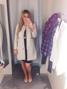 I love that nude colored H&M coat in the dressing room!