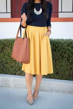 Navy Sweater + Yellow Midi Skirt + Tote Bag + Fringe Bib Necklace Work Fashion, Modest Fashion, Fashion Outfits, Women's Fashion, Zapatos Animal Print, Yellow Skirt Outfits, Work Chic, Professional Attire, Business Casual Outfits