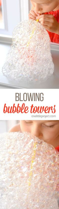 These bubble towers are ridiculously easy to make and they are SO MUCH FUN. It takes less than 2 minutes to put together and will keep the kids going for ages! What an easy boredom buster! Bubble Activities, Indoor Activities For Kids, Science For Kids, Stem Activities, Toddler Activities, Preschool Ideas, Toddler Crafts, Crafts For Kids, Growing Crystals