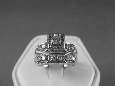 1940s Diamond Wedding Set .50Ctw Size 4.5 by estatejewelryshop, $595.00