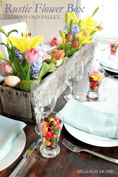 Easter Tablescape:  rustic flower box made out of an old pallet