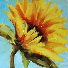 Sunflower painting, original flowers painting, oil painting Oil painting by Boba - - Sunflower painting, original flowers painting, oil painting Oil painting by Boba Zeichnen Polychromos Sunflower Canvas Paintings, Flowers In Vase Painting, Easy Flower Painting, Simple Oil Painting, Oil Painting For Beginners, Acrylic Painting Flowers, Autumn Painting, Watercolor Flowers, Canvas Art