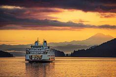 "The ""red eye"" -- Early morning ferry run to Anacortes aboard the Samish - Lopez Island Dock - WA — in Lopez Island, Washington."