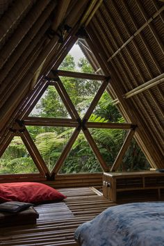 HIDEOUT is an all-bamboo house hidden in the. HIDEOUT is an all-bamboo house hidden in the mountains of Gunung Agung volcano in Bali. Built by a couple from Czech Republic. Submitted by Katarina Dubcova Even more photos: Rad Eye Rest House, House In The Woods, Flur Design, Web Design, Design Ideas, Logo Design, Bali, Rangoli Designs, Nature Architecture