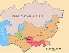 Map of Soviet Central Asia in 1922 with the Turkestan ASSR and the Kyrgyz ASSR