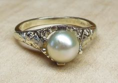 Vintage Antique 6.5mm Pearl 14k White Gold Alternative Engagement Ring Art Deco Filigree 1950's Signed NOW by DiamondAddiction on Etsy