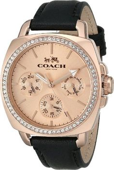 COACH Womens Boyfriend 40MM Leather Strap Watch Rose Gold/Black Watch More
