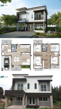 House Floor Design, Simple House Design, Dream Home Design, Tiny House Design, Home Design Plans, House Layout Plans, New House Plans, House Layouts, House Floor Plans