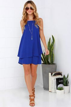 Royal Blue Dress - Sleeveless Dress - Apron Dress - $42.00