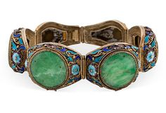 Lovely Chinese Enamel over vermeil  Silver Jadeite Bracelet holding six individuallly hand carved circulaf Jade plaques Marked made in China silver $1539 - SOLD
