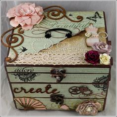 Other: Altered box Cigar Box Projects, Cigar Box Crafts, Cigar Box Art, Altered Cigar Boxes, Diy And Crafts, Paper Crafts, Creative Box, Decoupage Box, Pretty Box