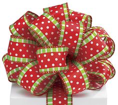 christmas wired ribbon 1 12 wide red center stripe with white polka