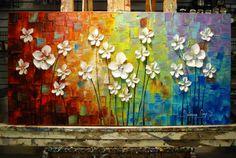 Gran Resumen flores flor arte de la pintura por ModernHouseArt