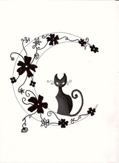..:: Moon Cat Tattoo ::.. by ~KimRaiFan on deviantART  (I'd do it with colored flowers and the cat not colored in but a thick outline, mostly white)