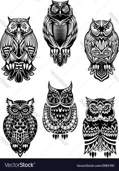 Tribal owl bird tattoo set vector - by Seamartini on VectorStock® Tribal Owl Tattoos, Geometric Owl Tattoo, Art Tribal, Tribal Style, Maori Tattoos, Skull Template, Adler Tattoo, Owl Tattoo Drawings, Owl Tattoo Design