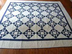 Antique Blue and White Ohio Star Quilt Never Washed Free Priority Shipping | eBay, angelinrags