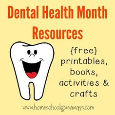 February is Children's Dental Health Month. Check out this great list of {free} printables, books, activities & crafts to help teach kids about brushing their teeth!! :: www.homeschoolgiveaways.com