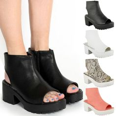 WOMENS BLOCK HEEL CHUNKY PLATFORM CLEATED SOLE CUT OUT ANKLE BOOTS SHOES SANDALS