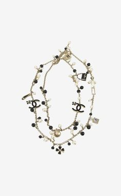 Chanel Gold, Black And White Necklace//