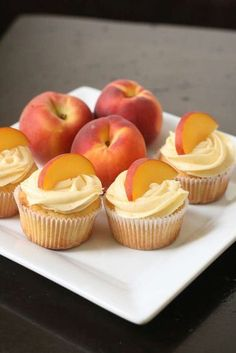 Peach cupcakes with peach cream cheese frosting. I need to make these before summer is gone. Peach Cupcakes With Peach Cream Cheese Frosting: Makes 24 cupcakes The perfect thing to eat with your fingers, and perfectly summery. Köstliche Desserts, Delicious Desserts, Dessert Recipes, Yummy Food, Summer Cupcake Recipes, Tasty, Wedding Cupcake Recipes, Dessert Healthy, Summer Recipes