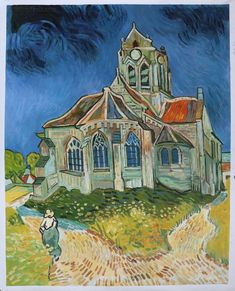 The Church at Auvers-sur-Oise, View from the Chevet - Vincent van Gogh hand-painted oil painting reproduction,living room art decor canvas Famous Art Paintings, Monet Paintings, Van Gogh Paintings, Beautiful Paintings, Landscape Paintings, Arte Van Gogh, Van Gogh Art, Georges Braque, Van Gogh Pinturas