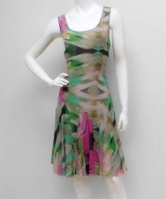 Another great find on #zulily! Green & Fuchsia Abstract Scoop Neck Dress - Women #zulilyfinds