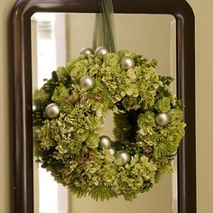 Southern Living Christmas hydrangea wreath on mirror