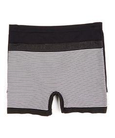dcfb6aafecdf Delta Burke Intimates Black & White Stripe Seamless Boyshorts Set - Plus Too