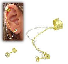 Brinco EAR CUFF folheado a ouro c/ strass e correntinha dupla