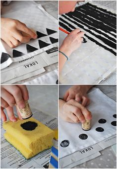 DIY on painting personalized napkins.