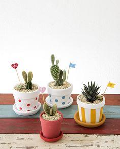 ドットやストライプデザインのプランターはサボテンや多肉植物の植木鉢にぴったり!