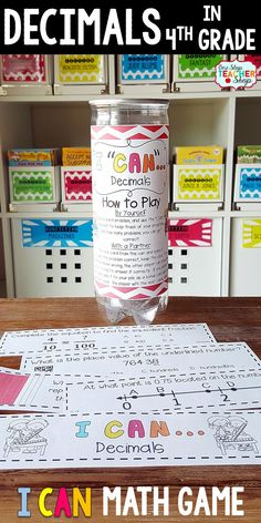 4th grade math game for DECIMALS. Perfect for math centers, independent practice, whole class review, and progress monitoring. This math game covers ALL Common Core math standards related to decimals in Fourth Grade.