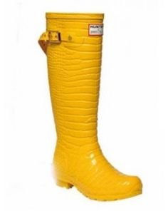 Hunter & Jimmy Choo Crocodile-Embossed Boots Yellow