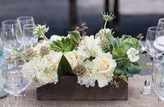 cream tan brown wedding flower centerpiece green touches