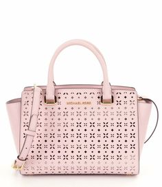 NWT MICHAEL Michael Kors Pink Selma Floral Perforated Medium Satchel Bag New  #MichaelKors #Satchel