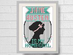 Jane Austen Modern Cross Stitch Pattern Instant by LindyStitches