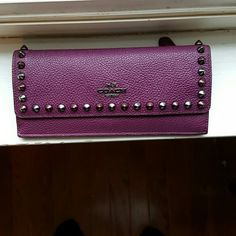 COACH WALLET  Excellent condition Plum with studs soft Pebble Leather Coach Accessories