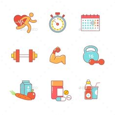 Bodybuilder, Health, Fitness Thin Line Icons Set
