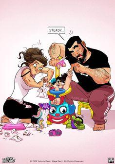 Cute Couple Comics, Couples Comics, Couple Cartoon, Funny Couples, Cute Comics, Funny Comics, Yehuda Devir, Relationship Cartoons, Happy Anniversary My Love