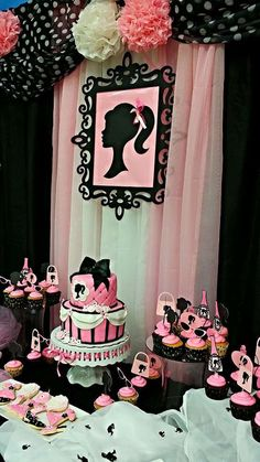 Pink and black Barbie birthday party!  See more party planning ideas at CatchMyParty.com!