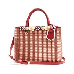 Fendi Petite 2Jours raffia and leather bag (€2.170) ❤ liked on Polyvore featuring bags, handbags, red multi, red leather purse, red leather handbags, red handbags, multi colored leather handbags and leather handbags