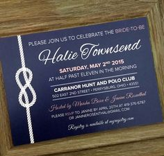 Nautical Bridal Shower Invitation - Navy and Coral Invite - Customized Wedding Shower