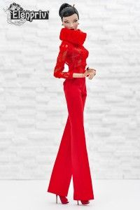 Red lace poloneck top for Fashion Royalty FR2 and similar body size dolls
