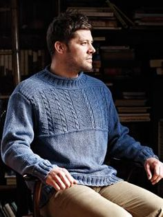 Men's Gansey Pullover. Might be making this for dh, it is what i can find at the right gauge--simplify the chest panel??