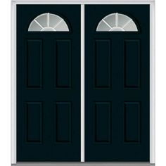 Milliken Millwork 66 in. x 81.75 in. Classic Clear Glass GBG 1/4-Lite 4 Panel Painted Fiberglass Smooth Exterior Double Door, Dark Night
