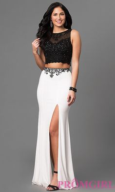 Two-Piece Two-Tone Embellished Prom Dress