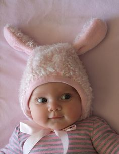 How to make a bunny hat, plus a picture of an adorable baby!